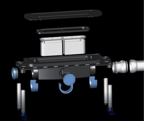 """DallFlex hat mehrere Vorteile: Höhenverstellbarkeit, flexible Positionierung in der Dusche, drei Anschlussmöglichkeiten, einfache Reinigung, viele Gestaltungsvarianten und Qualität """"Made in Germany""""."""