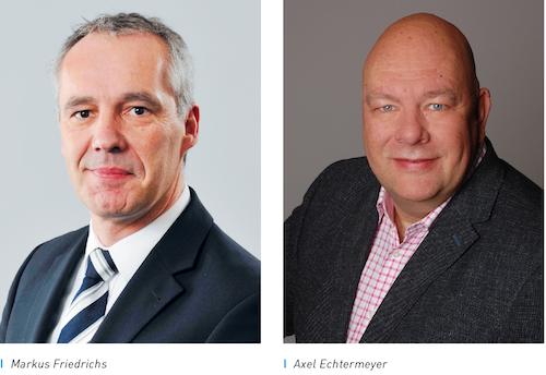 Markus Friedrichs übernimmt die Gesamtverantwortung für den Bereich Sales & Marketing und wird zudem in die Geschäftsführung der Uponor GmbH berufen. Neuer Verkaufsleiters Deutschland Axel Echtermeyer
