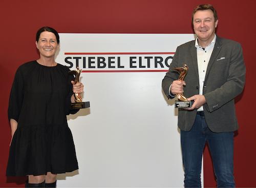 v.l.: Werbeleiterin Fátima Freitas und Pressesprecher Henning Schulz - Stiebel Eltron